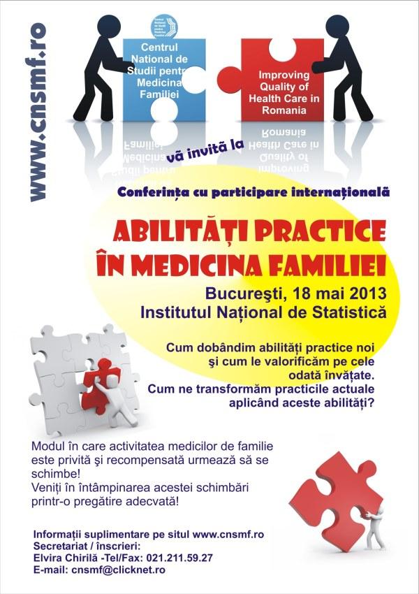 Afis ABILITATI PRACTICE IN MEDICINA FAMILIEI Centrul National de Studii pentru Medicina Familiei